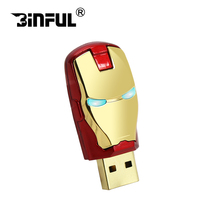 Wholesale avengers iron man led pen drive usb flash drive 128gb 64gb 16gb 32gb 8gb pendrive memory card pendrives(China)