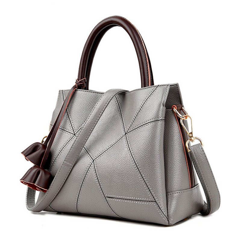 2017 Genuine Leather Women Bag High Quality Womens Handbag Luxury Handbags Women Bags Designer Gray Patchwork bolsa feminina<br>