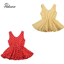 Baby Kids All Hearts Printing Dress Bebes Girls Red Yellow V-neck Dresses Princess Party Cute Summer Clothing(China)