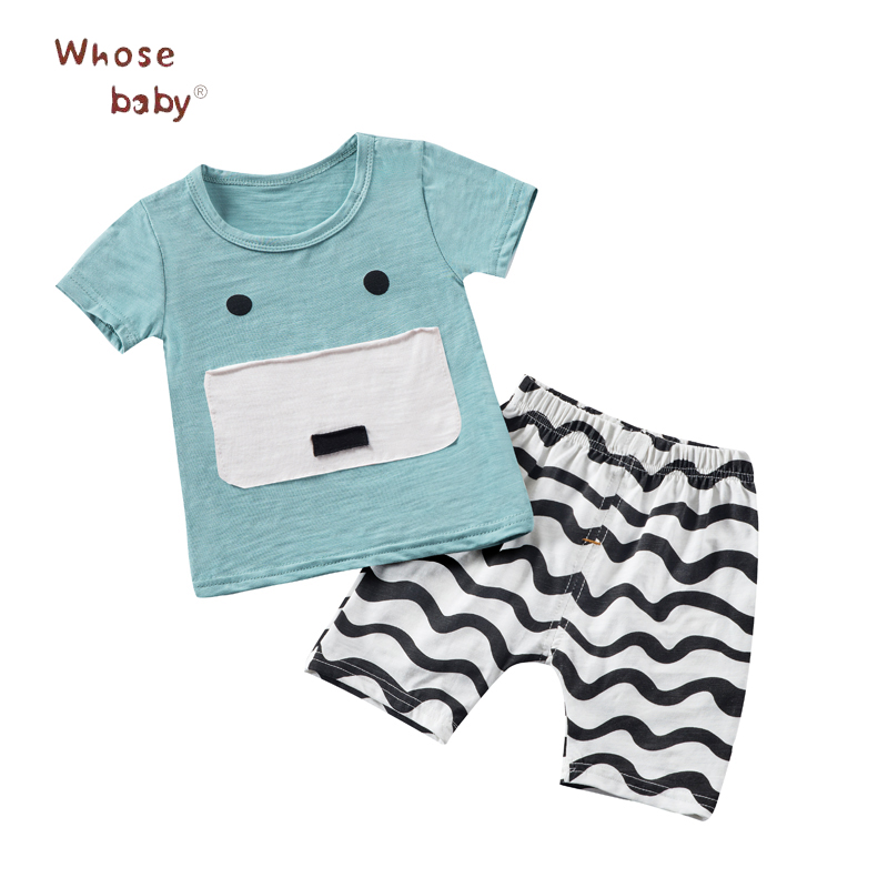 2017 2pcs Summer Baby Clothes Sets Cotton Character Design Cute Baby Girl Boy Clothes Short Sleeve Top Tees With Shorts DR4267(China (Mainland))