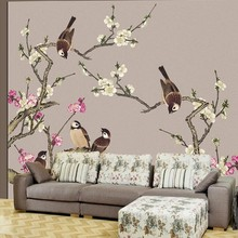 beibehang Custom Photo Wallpapers Highland Tinker Peach Blossom House and Everything Hing Flower Birds Backdrop papel de parede(China)