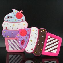 For iPhone 5 5s Case HOT 3D Silicon Lovely Cupcake Style Soft Phone Cover Case for Iphone 5 5s i5