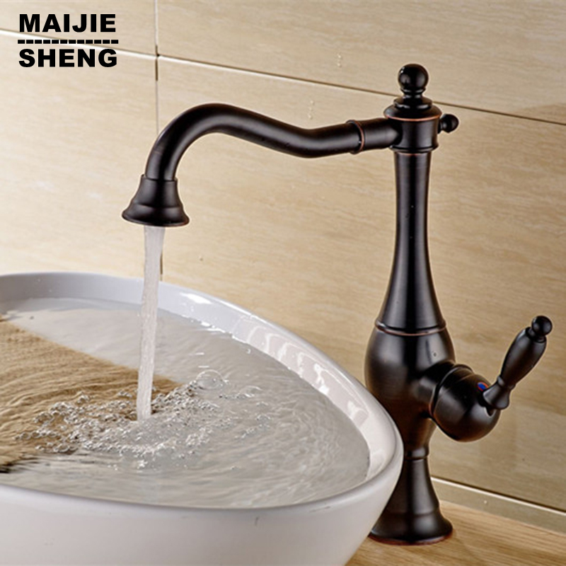 Black ORB kitchen faucet deck mounted sink tap blackened kitchen mixer none pull out torneiras black sink mixer tap<br><br>Aliexpress