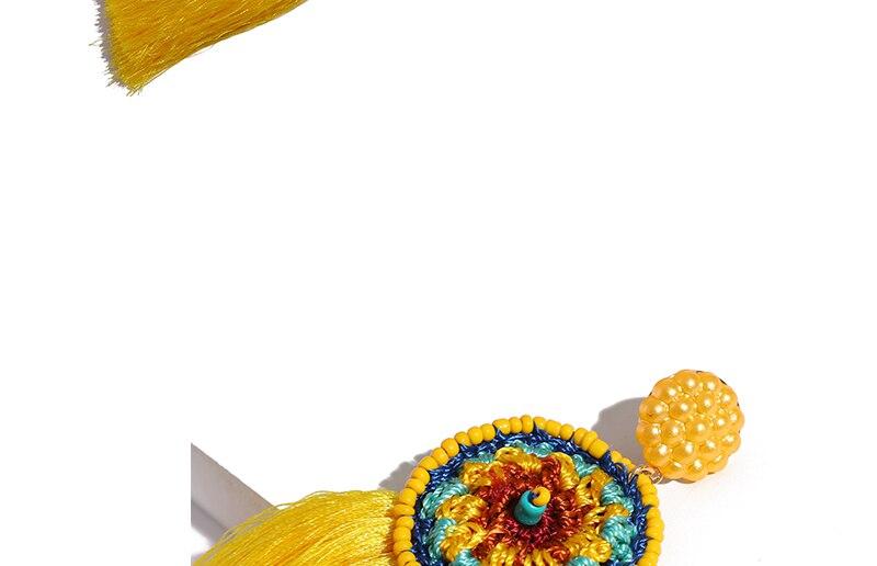 BTSETS Women Fringed Tassel Earrings Bohemian Bijoux Statement Earring Cheap Handmade Yellow Color Long Dangle Drop Earrings (2)