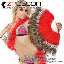 ZPDECOR Red Marabou and Peacock Feather Hand Fan 5 Pieces Costume Fun Act Burlesque Decor Dancing Carnival Show and Costume