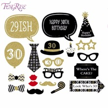FENGRISE 30th Photo Booth Novelty Gifts For 30 Years Man Women Birthday Photobooth Props Wedding Party Gold Decoration Supplies