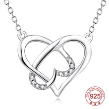 YFN Genuine 925 Sterling Silver Cross Love Heart Crystal CZ Pendant Necklace Hollow Jewelry Fashion Gift For Women