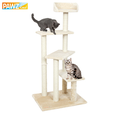 Pawz Road Domestic Delivery H125 Cat Climbing Tree Cat Fun Scratching Solid Wood for Cats Climb Frame 3 Steps for Cat to Jumping