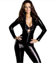 Buy High Quality 2017 Black Faux Leather Zipper Front Catsuit Lingerie Sexy Clubwear Costume Women Latex Long Jumpsuit Catsuit W7795