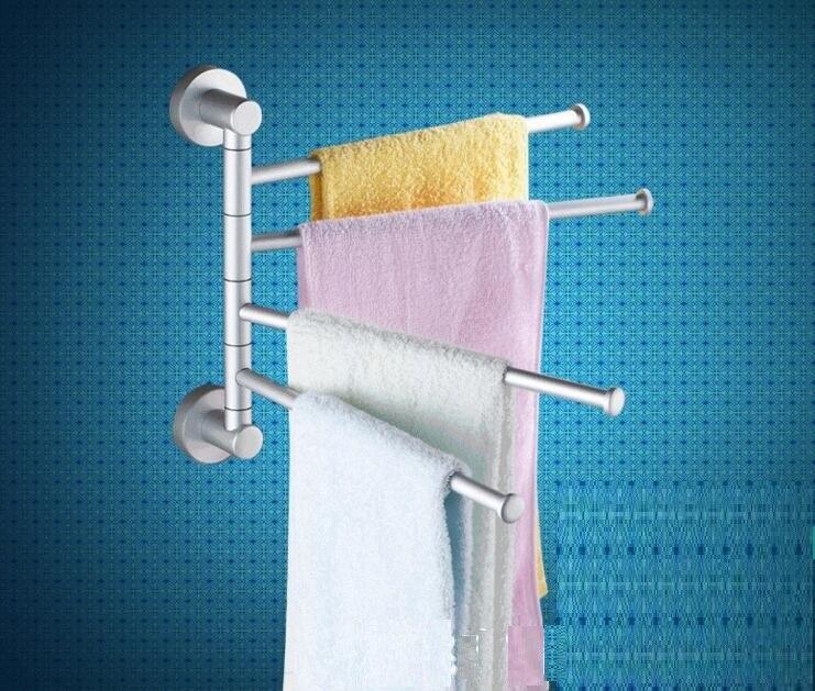 Towel bar with 4 rotating bar aluminum bathroom rack<br><br>Aliexpress