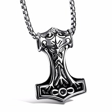 Man Necklaces Thor Hammer Stainless Steel Vintage Pendant Box Chain Necklace Fashion Men Jewelry Chain Necklace Wholesale GX1072