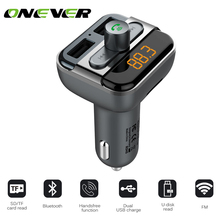 Onever Car Audio mp3 player FM transmitter wireless modulator Car Bluetooth Handsfree With Charger 3.4A Dual USB TF Slot black(China)