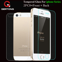 GerTong 2PCS= Front + Back Screen Protector Tempered Glass For iPhone 5S SE 5 6 6S 7 Plus 6Plus 4 4S Protective Glass Cover Film(China)