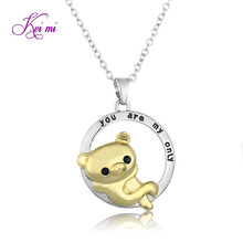 KeiMi 'you are my only' Letter Cute Teddy Bear Pendant Necklace High-end Animal Bear Necklace Gift For Childs Round Pendant
