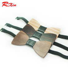 New Design Customize Small Size Boys Wooden bow ties Baby kids bowties Butterfly Cravat Gravata School Child Student wood tie(China)