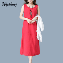 WYSHMJ 2017 Hot Summer National Wind Pure Color Waistcoat Dress Back Hollow Out Round Neck Women Vintga Fashion Sleeveless WH014(China)
