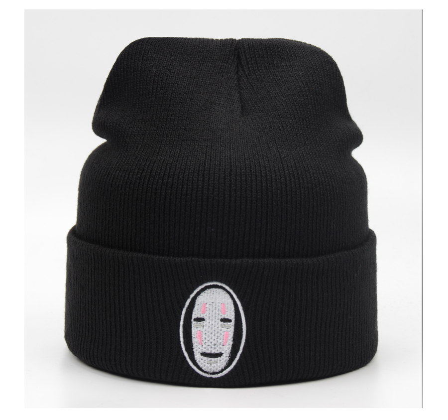 Quality Acrylic Stretch Knied HatLeer Embroidery Black Cap Fashion Accessory Leisure Hip Hop Beanies Slouch Skullies (7)