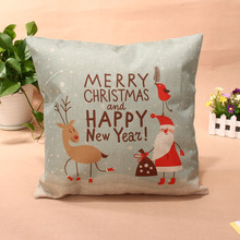 44*44cm Merry Chirstmas Pillow Case Cotton Linen Cushion Cover Pillow Cover with Invisible zipper Christmas Home Decoration
