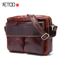 AETOO New leather men's bag men's casual shoulder Messenger bag head tide tide package
