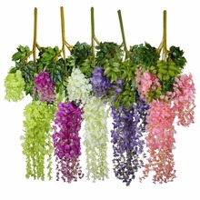 24pcs 105cm Silk Artificial Hanging Flower Silk Wisteria Plants Fake Flower Decorative Flower Wreaths for Wedding Home Decor
