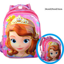 Kindergarten Sweet Sofia Schoolbag/Girls Princess 3D Printing Backpacks/Kids Cartoon Designer Book Bags/Children Pink  Mochila