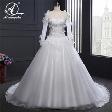 Buy Elegant Ball Gown Long Sleeves Wedding Gowns Bridal Wedding Dress Bride Vestido de noiva Train Boat Neck Appliques Flowers for $119.25 in AliExpress store