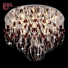 Modern red chandelier ceiling crystal lamp Dia60*h57cm lustres bedroom chandelier free shipping(China)
