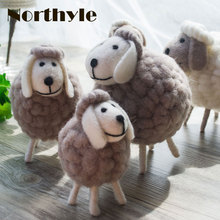 Genuine Northyle cute mini sheep wool miniature sheep craft figurine home decoration accessories christmas gift(China)
