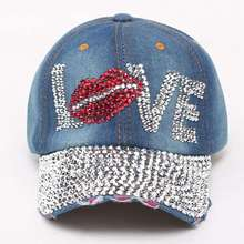 Women Diamond Flower Baseball Cap Summer Style Lady Jeans Hats crystal Rhinestone hip hop denim cowboy cap Sports Snapback cap