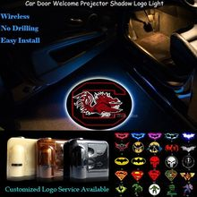 2pcs South Carolina Gamecocks Logo Wireless Senor Car Door Welcome Ghost Shadow Spotlight Laser Projector Puddle LED Light(China)