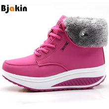 Bjakin Winter Women Sneakers Outdoor Plus Velvet Running Shoes Platform Swing Snow Ankle Boots Warm Plush Sports Slimming Boots