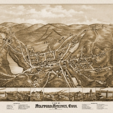 Old Map of Stafford Springs Connecticut 1878 Tolland County Poster Print (36 x 54)