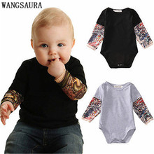 WANGSAURA Cool Style Newborn Toddler Kids Baby Boy Bodysuit Clothes Cotton Long Sleeve Tattoos Print Jumpsuit Outfits Black Gray