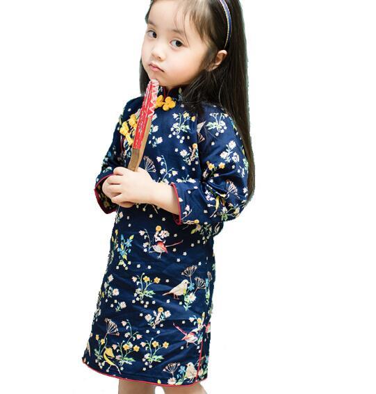 2017 hot Kids Girl Formal Dresses Collar And short  Sleeve Children Dress Chinese Cheongsam Dress For Girls 6 8 10 Years<br><br>Aliexpress