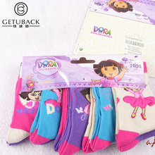 2017 New Dora girls socks 10 pairs/lot baby children 95% cotton brand socks kids adult cartoon top quality socks, HI108