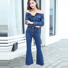 New High Quality Fashion Runway 2017 Casual Suit Set Women's Blue Printed Denim Jacket and Denim Pants Set Jeans Clothing Set(China)