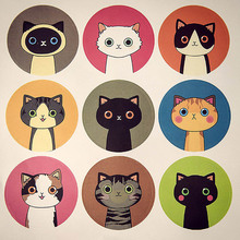 180pcs Kitten Cartoon Cat Scrapbooking Sticker Sealing Label Package Bakery DIY Chocolate Cookie Cake Food Tags Party Decoration