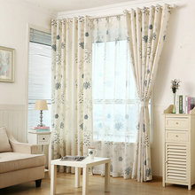 Foral Window Curtains for Living Room Blackout Blinds for Bedroom Off White Tulle  Ready-made Window Treatment/Drapes