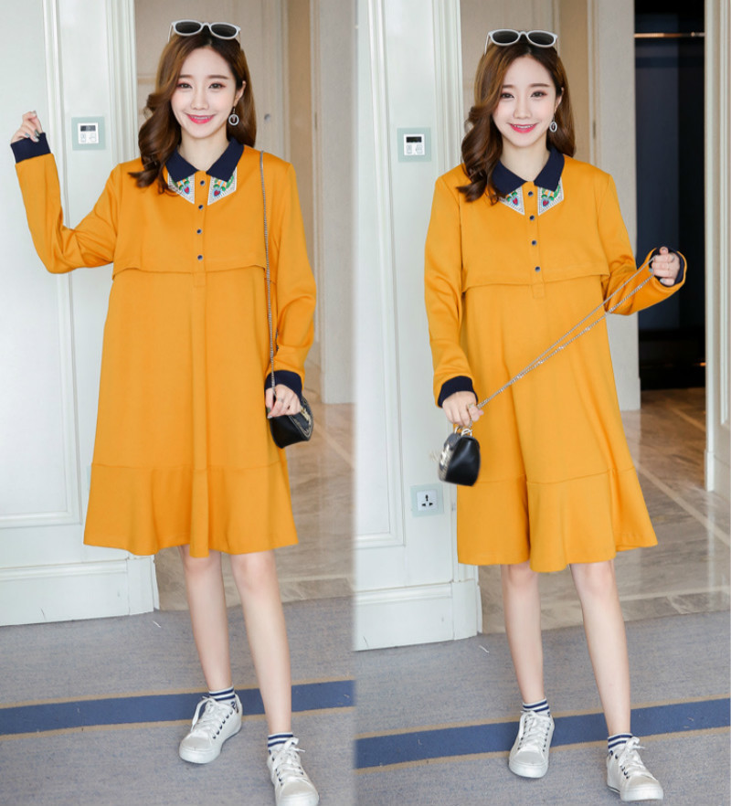 MODENGYUNMA Maternity Nursing Dress Cotton Long Sleeve Breastfeeding Clothes Pregnancy Autumn Clothing Pregnant Woman Dresses