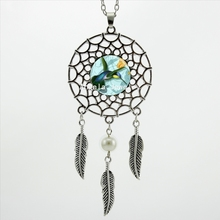 2017 Trendy Style Hummingbird Necklace  Green and Blue Bird Jewelry Dream Catcher Pendant Necklace DC-00437