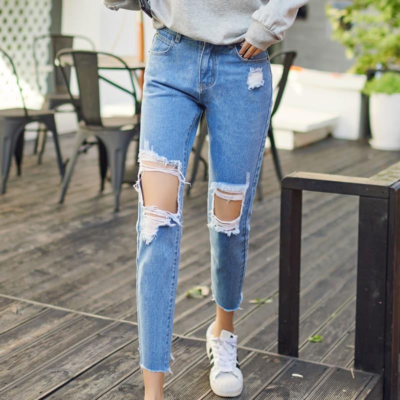 2017 New Ripped Boyfriend Jeans Women Loose Casual Denim Pants High Waist Jeans Femme Harem Pants C332