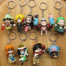 High Quality PVC 9pcs Anime Games One Piece Figure Keychain Assembly Leisure Life Pirates Group Full Set Model Toy(China)