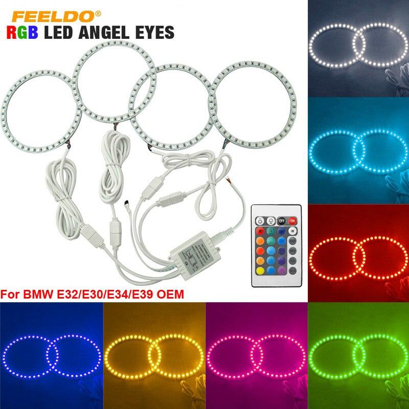 FEELDO 4*120mm For BMW E30/E32/E34/E39OEM 5050 SMD RGB Flash LED Car Angel Eyes Halo Rings Daytime Running Light  #AM4409<br>