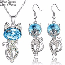 2017 cute cat catty hotsell wholesales white gold color Austrian Crystal Pendant Necklace Earrings fashion Jewelry Sets 80144