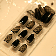 Hot Sale Full Fake Nails Black Transparent Lace Short Oval Nail Tips with Rhinestone Crossed Line False Nails with Glue Sticker