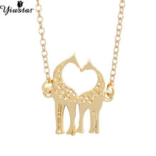 Yiustar 2016 Vintage Cute Double Giraffe Necklace For Women Long Chain Heart Shape Romantic Jewelry  XL002