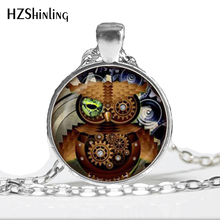 Steampunk Owl Necklace Steampunk Pendant Necklace Glass Cabochon Owl Necklace For Friend HZ1(China)