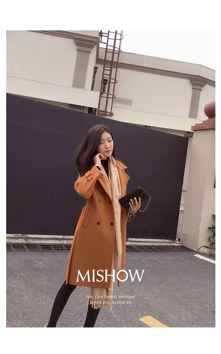 Mishow 19 autumn and winter woolen coat female Mid-Long New Korean temperament women's popular woolen coat MX17D9636 30