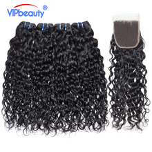 Vip Beauty Peruvian Human Hair 3 Bundles Water Wave With Closure Free Part Non Remy Hair Extension Natural Color Free Shipping(China)