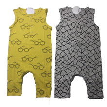 New 2017 fashion glasses/plaid prited baby rompers baby boy clothes sleeveless newborn cotton baby girl clothing infant jumpsuit